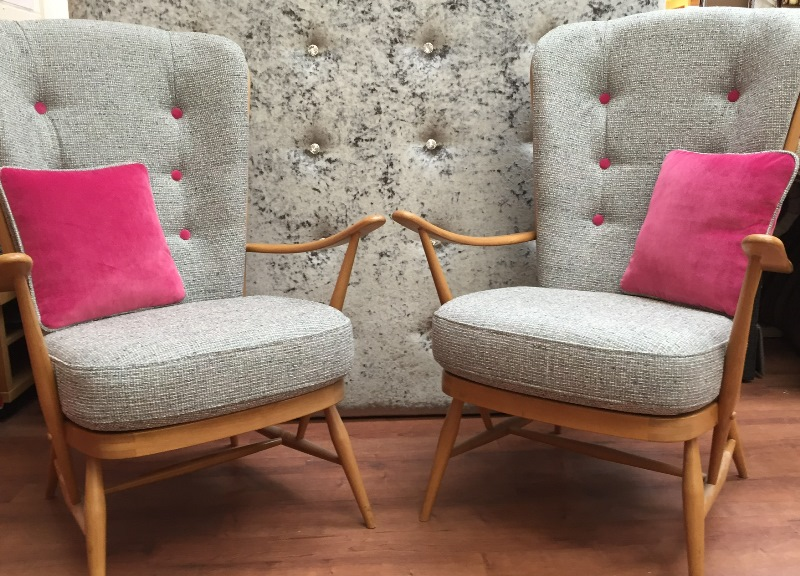 A Pair Of Rare Vintage Ercol High Back Chairs Newly Reupholstered In Romo  Mendel Boucle Weave With Linwood Omega Velvet Scatter Cushions.